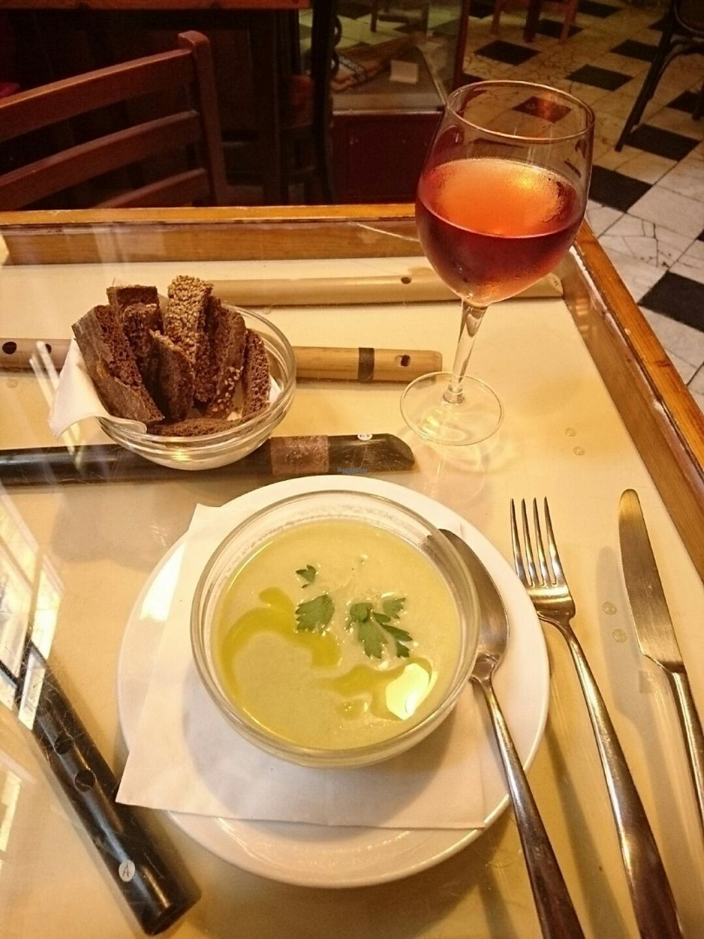 "Photo of La Cereria  by <a href=""/members/profile/cyberlp23"">cyberlp23</a> <br/>Soup, rosé wine & brown bread <br/> August 17, 2016  - <a href='/contact/abuse/image/34026/169409'>Report</a>"