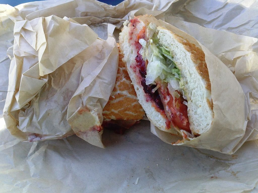 """Photo of Ike's  by <a href=""""/members/profile/Sonja%20and%20Dirk"""">Sonja and Dirk</a> <br/>Vegan Pilgrim Sandwich <br/> October 18, 2015  - <a href='/contact/abuse/image/34032/121770'>Report</a>"""