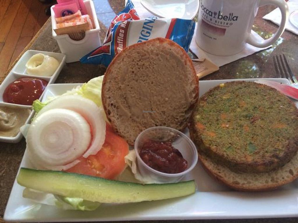"""Photo of Bocca Bella Cafe  by <a href=""""/members/profile/sirrahfay"""">sirrahfay</a> <br/>hopefully vegan burger, served with mayo? <br/> August 15, 2014  - <a href='/contact/abuse/image/34035/77096'>Report</a>"""