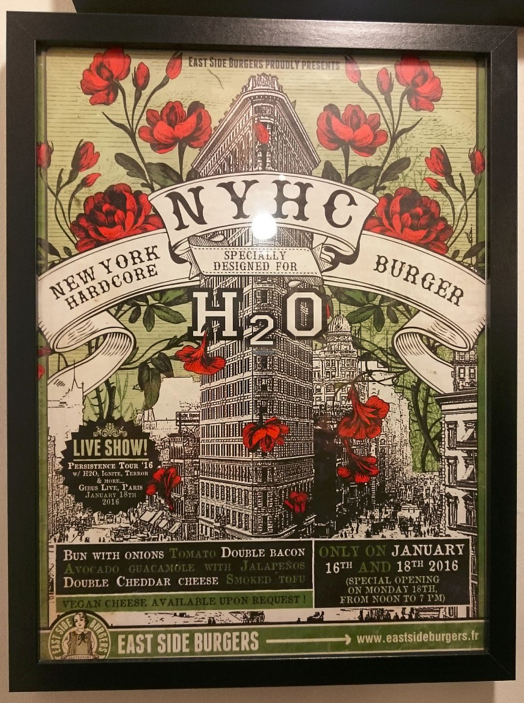 """Photo of East Side Burgers  by <a href=""""/members/profile/herbivo"""">herbivo</a> <br/>Home to the biggest names of NYHC! <br/> January 6, 2017  - <a href='/contact/abuse/image/34087/208695'>Report</a>"""