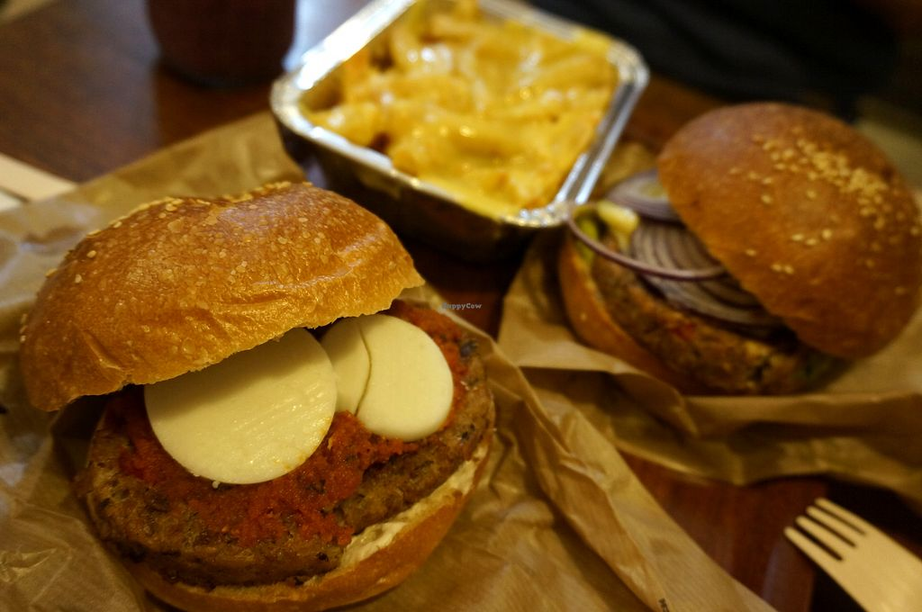 """Photo of East Side Burgers  by <a href=""""/members/profile/Ricardo"""">Ricardo</a> <br/>Provençal and Mexican Burgers  + French Fries w/Cheddar (all vegan) <br/> May 6, 2018  - <a href='/contact/abuse/image/34087/396212'>Report</a>"""