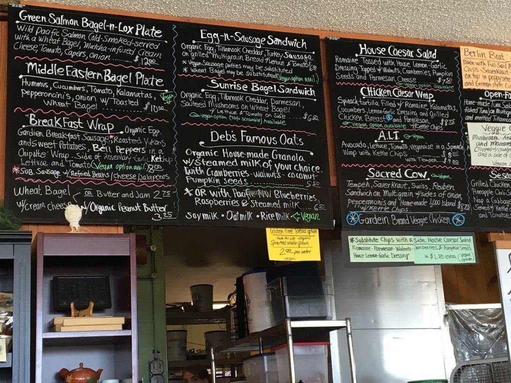 """Photo of Green Salmon Coffee and Tea House  by <a href=""""/members/profile/Californiasummer"""">Californiasummer</a> <br/>Photo of some of the menu. There are more food choices and a huge coffee/tea menu <br/> August 5, 2016  - <a href='/contact/abuse/image/34100/165879'>Report</a>"""