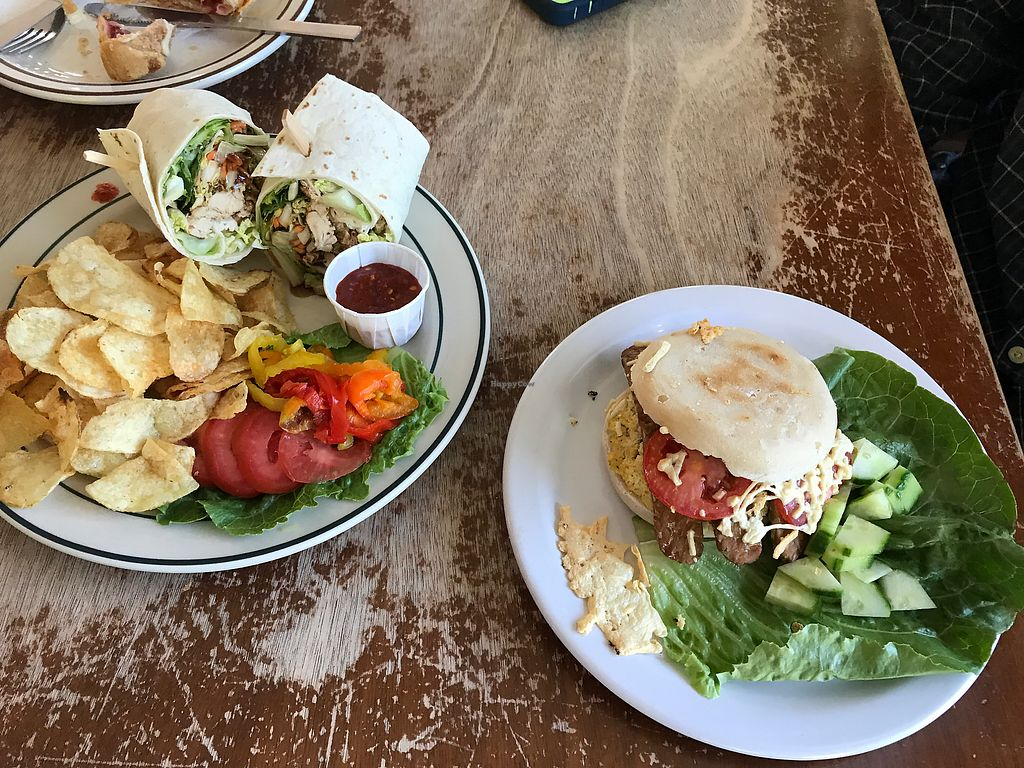 """Photo of Green Salmon Coffee and Tea House  by <a href=""""/members/profile/RMihalcik"""">RMihalcik</a> <br/>Sesame """"Chicken"""" Wrap and Breakfast English Muffin Sandwich <br/> July 16, 2017  - <a href='/contact/abuse/image/34100/281230'>Report</a>"""