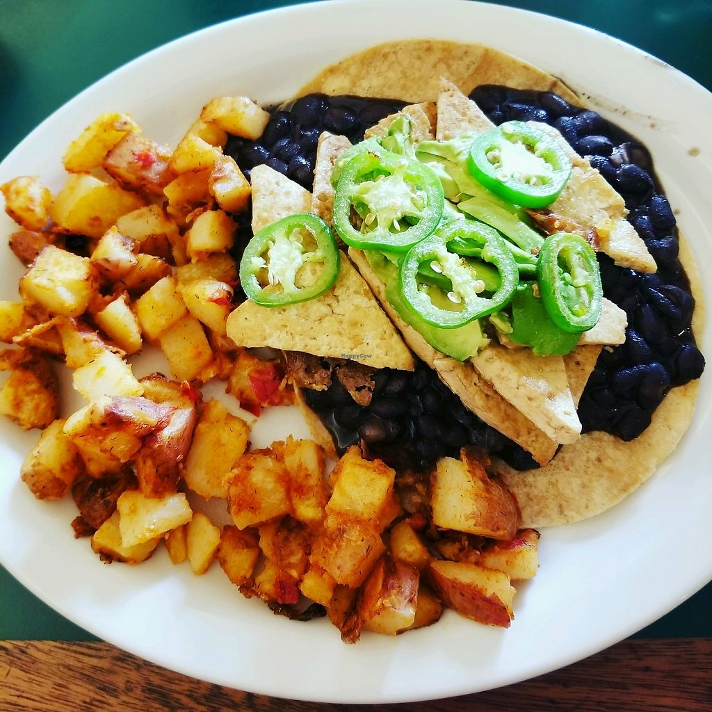 "Photo of East West Cafe  by <a href=""/members/profile/tikhonova87"">tikhonova87</a> <br/>vegan huevos rancheros with tofu and no sour cream <br/> September 2, 2017  - <a href='/contact/abuse/image/3414/300045'>Report</a>"
