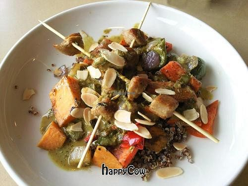 """Photo of Third Coast Spice Cafe  by <a href=""""/members/profile/happycowgirl"""">happycowgirl</a> <br/>Rendang Bowl-Peppered Seitan, Cilantro, Green Onions, Roasted Seasonal Vegetables and Organic Red Quinoa <br/> September 8, 2012  - <a href='/contact/abuse/image/34185/37725'>Report</a>"""