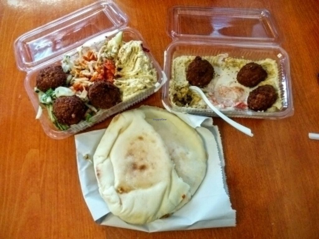 """Photo of Tel Aviv Hummus House  by <a href=""""/members/profile/AinoPerttunen"""">AinoPerttunen</a> <br/>Falafel and hummus with pita <br/> July 29, 2016  - <a href='/contact/abuse/image/34198/163109'>Report</a>"""