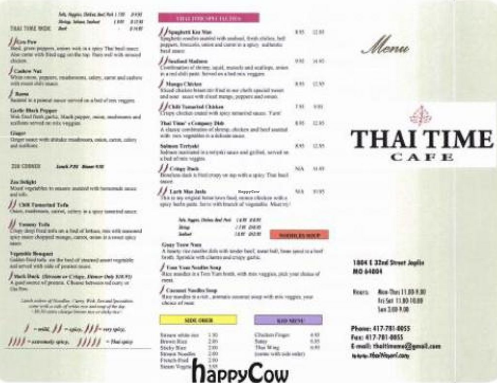 """Photo of Thai Time Cafe  by <a href=""""/members/profile/dbrown"""">dbrown</a> <br/>Menu part 2 <br/> September 9, 2012  - <a href='/contact/abuse/image/34276/206993'>Report</a>"""