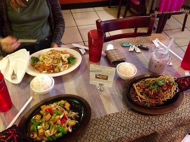 """Photo of Thai Time Cafe  by <a href=""""/members/profile/MollyJD17"""">MollyJD17</a> <br/>Far left: Pad Thai with veggies & tofu (no egg), near left: Outlaw Tofu (came with rice), right: Thai Time Volcano (a duck entree that came with rice) <br/> July 2, 2017  - <a href='/contact/abuse/image/34276/276145'>Report</a>"""