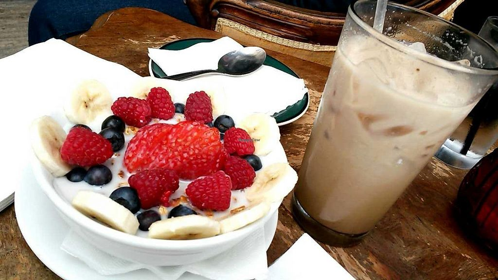 """Photo of CLOSED: Gypsy Den - Anaheim  by <a href=""""/members/profile/LiilyPadd"""">LiilyPadd</a> <br/>Granola with nut milk and vanilla chai soy tea <br/> November 12, 2014  - <a href='/contact/abuse/image/34313/85259'>Report</a>"""