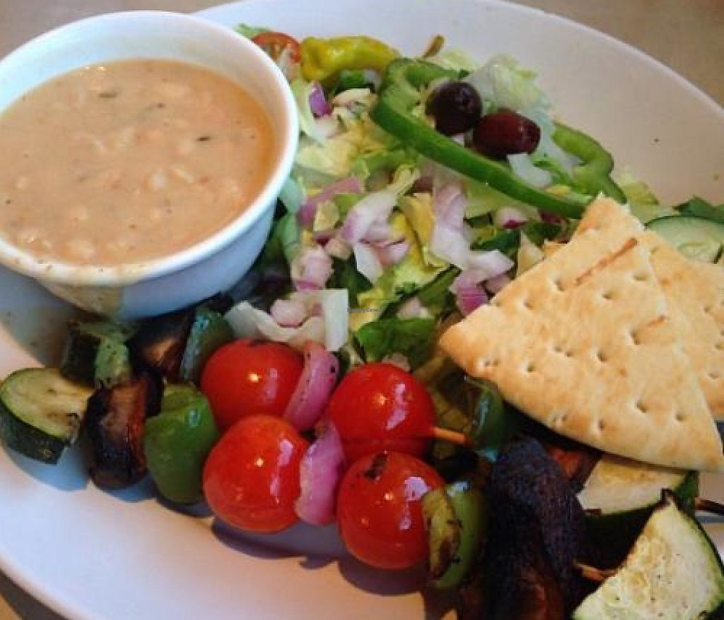 """Photo of Zoe's Kitchen  by <a href=""""/members/profile/ohemgee"""">ohemgee</a> <br/>Veggie kabob platter with side salad, pita slices, white bean in rosemary.  <br/> September 25, 2013  - <a href='/contact/abuse/image/34322/201582'>Report</a>"""