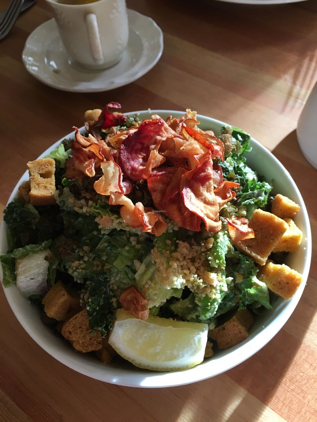 """Photo of Heirloom Vegetarian  by <a href=""""/members/profile/vegan%20frog"""">vegan frog</a> <br/>Caesar salad (small) <br/> December 26, 2017  - <a href='/contact/abuse/image/34325/339099'>Report</a>"""