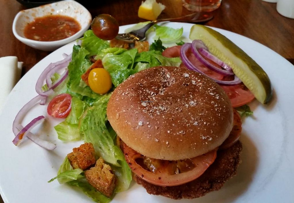 "Photo of La Plazuela at La Fonda  by <a href=""/members/profile/bduboff"">bduboff</a> <br/>Soy Chicken Patty - Served on whole wheat bun with local red chile mustard, sliced tomatoes and Swiss cheese $12 <br/> March 15, 2015  - <a href='/contact/abuse/image/34344/209301'>Report</a>"