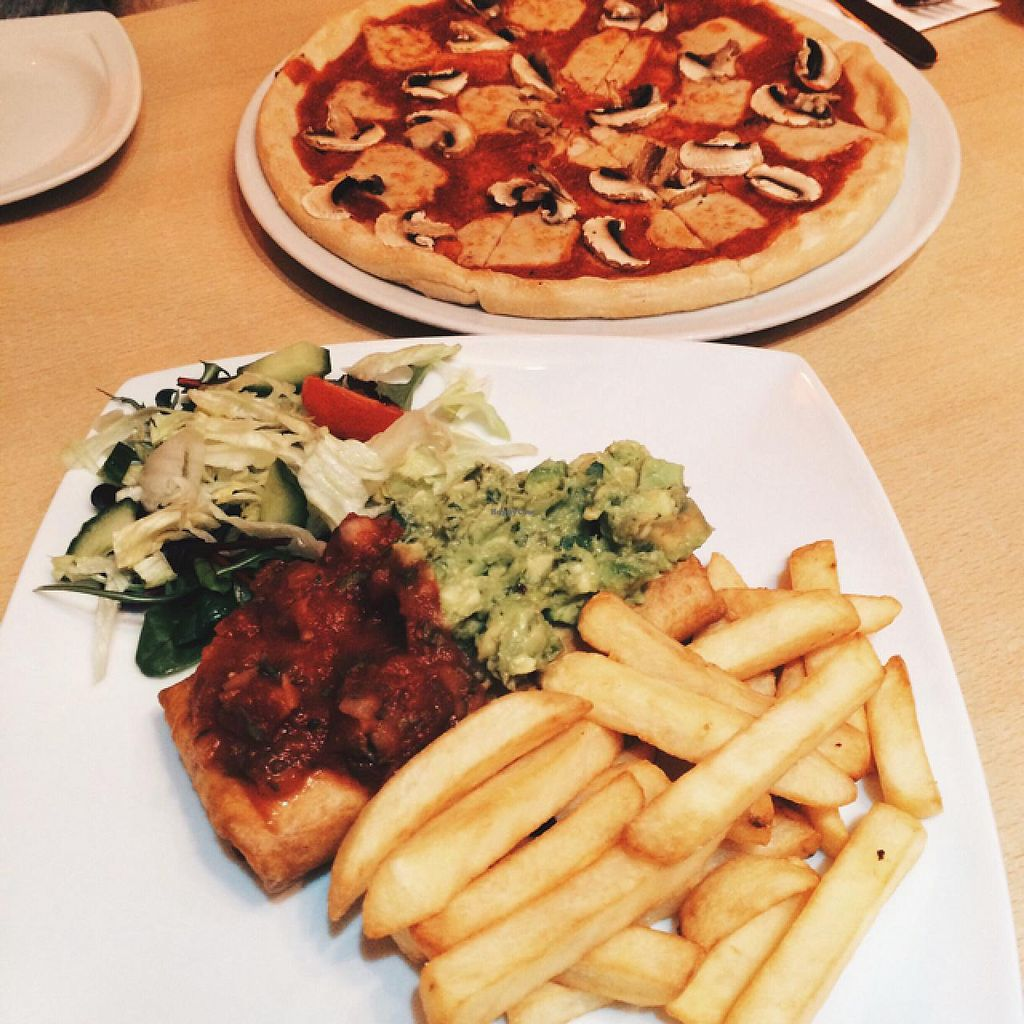 "Photo of Tia's Mexican and Mediterranean Restaurant  by <a href=""/members/profile/Lauren_hadfield"">Lauren_hadfield</a> <br/>chimichanga and fungi pizzza <br/> February 17, 2015  - <a href='/contact/abuse/image/34361/93379'>Report</a>"