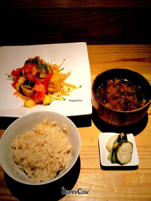 """Photo of Tamana Shokudo  by <a href=""""/members/profile/sglcklch"""">sglcklch</a> <br/>Brown rice, crispy tofu cubes in tomato sauce, miso soup, pickles <br/> October 9, 2012  - <a href='/contact/abuse/image/34363/38839'>Report</a>"""