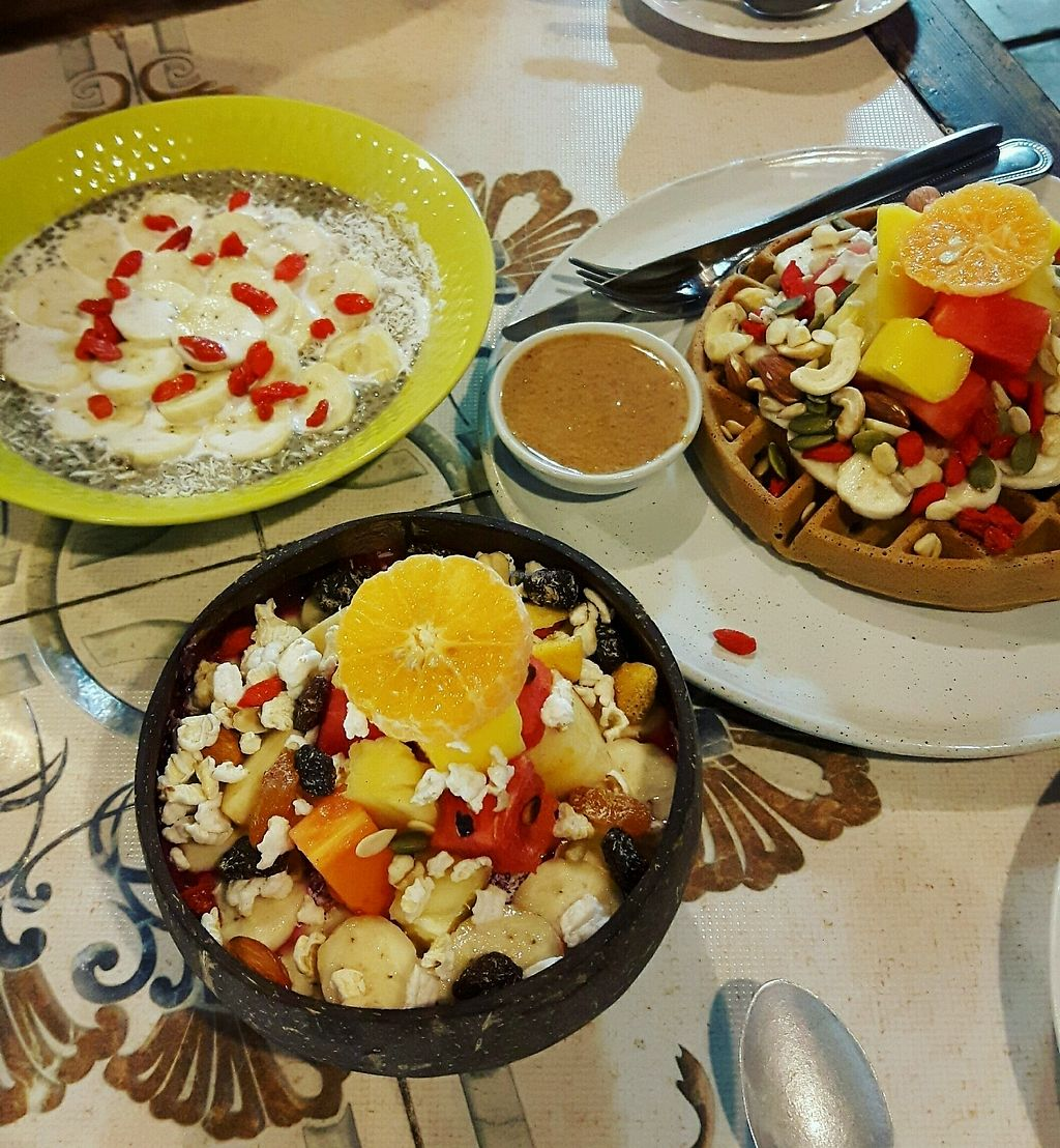 """Photo of Earth Tone  by <a href=""""/members/profile/CharityBosua"""">CharityBosua</a> <br/>Matcha Chia Pudding + Dragonfruit Acai Smoothiebowl + Waffle <br/> February 20, 2018  - <a href='/contact/abuse/image/34371/361677'>Report</a>"""