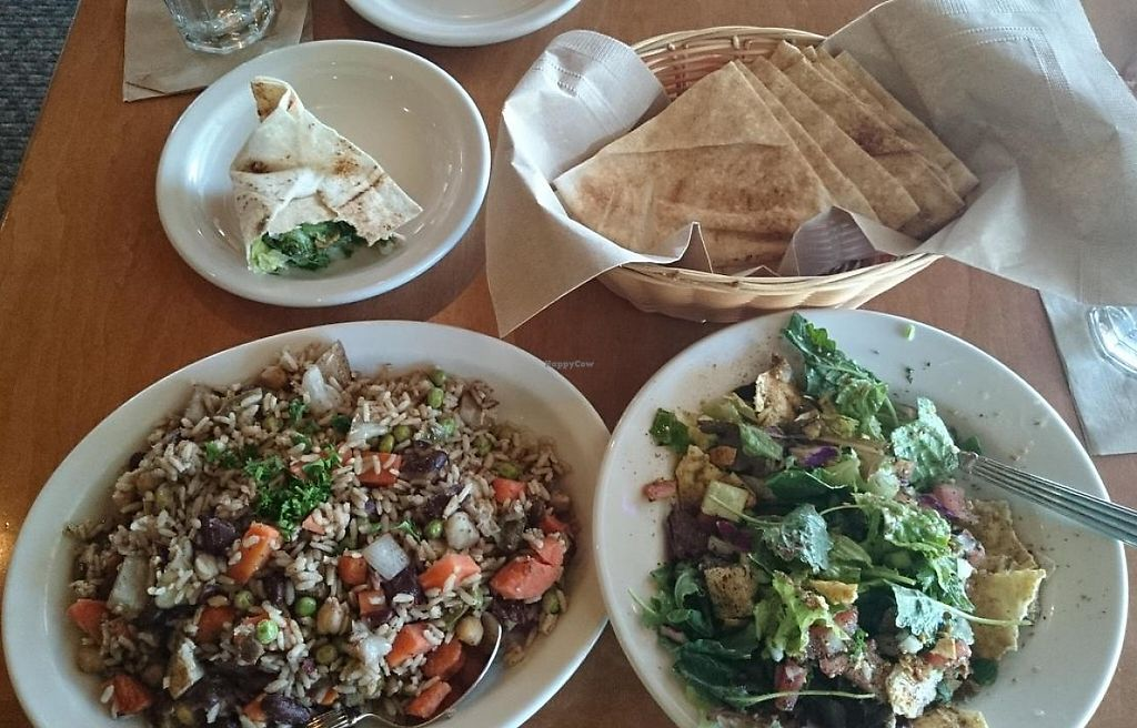 "Photo of Aladdin's Eatery  by <a href=""/members/profile/ScottieDOESknow"">ScottieDOESknow</a> <br/>Jasmines Favorite on the left... on the right Fattoush with Lebanese Salata (no oil/dressing) and lots of pita to make salad wraps <br/> April 29, 2014  - <a href='/contact/abuse/image/34420/216140'>Report</a>"