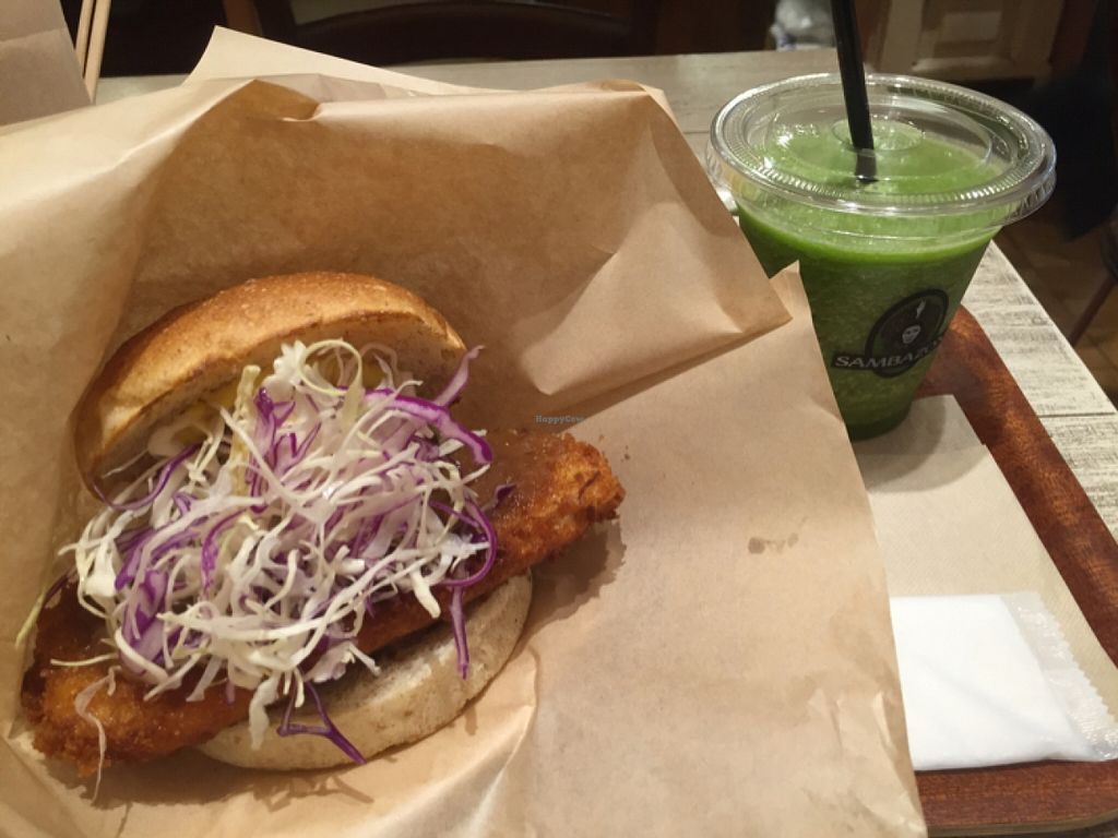 """Photo of CLOSED: Acai Cafe - Island Veggie  by <a href=""""/members/profile/Kimxula"""">Kimxula</a> <br/>tofu miso burger and green smoothie  <br/> May 11, 2016  - <a href='/contact/abuse/image/34446/148537'>Report</a>"""
