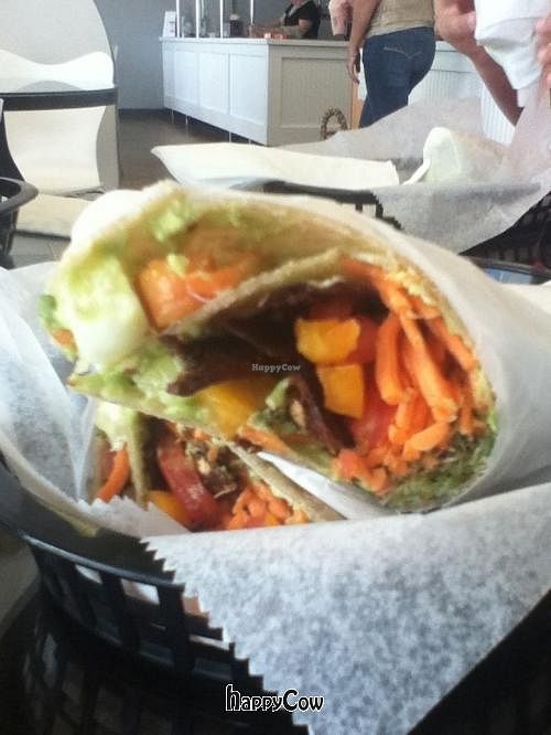 """Photo of Wild Roots  by <a href=""""/members/profile/MoreVeggiesPlease"""">MoreVeggiesPlease</a> <br/>The Californian Wrap on a gluten-free tortilla.  It was delicious!   <br/> May 30, 2013  - <a href='/contact/abuse/image/34463/48972'>Report</a>"""