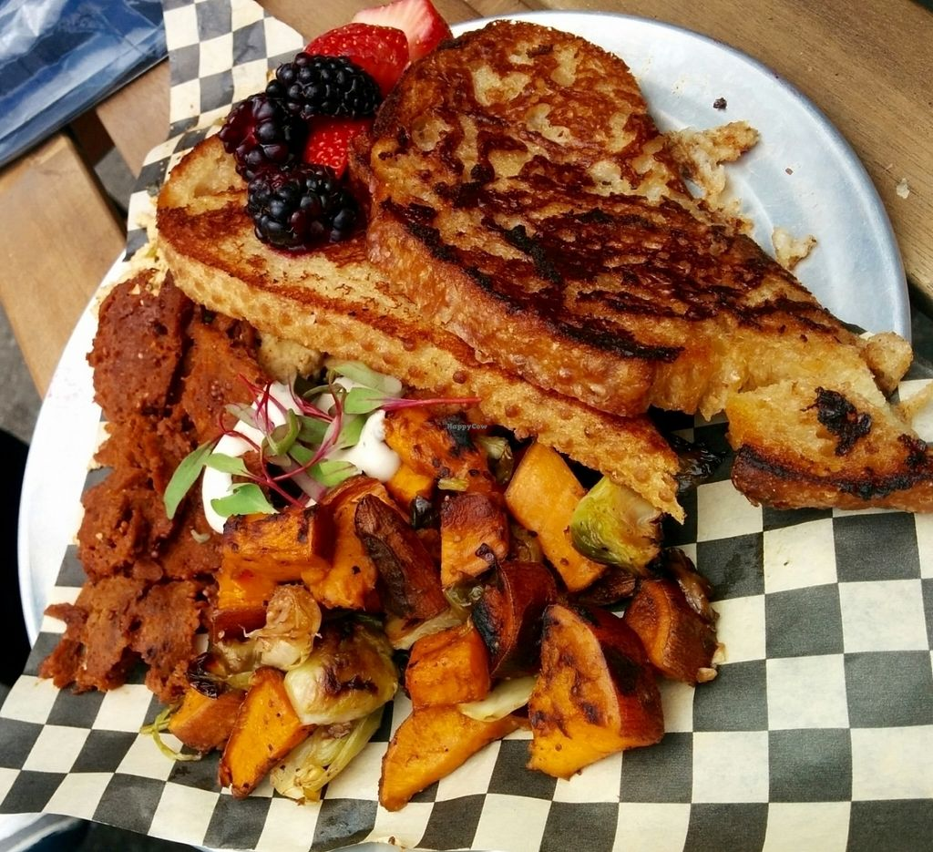 "Photo of Hella Vegan Eats  by <a href=""/members/profile/MizzB"">MizzB</a> <br/>Champions of breakfast plate: French toast, savory tofu scramble, organic berries, maple glazed seitan bacon, broccoli rabe/Brussels sprouts/sweet potato hash.  <br/> May 15, 2016  - <a href='/contact/abuse/image/34528/174405'>Report</a>"