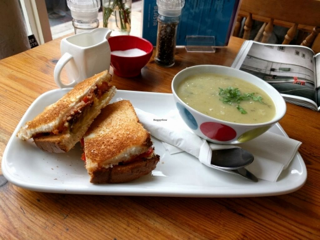 "Photo of Bia Blasta  by <a href=""/members/profile/faincut"">faincut</a> <br/>vegan toast and soup <br/> May 14, 2016  - <a href='/contact/abuse/image/34544/148902'>Report</a>"