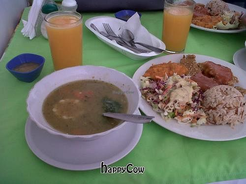 "Photo of Salud y Vida  by <a href=""/members/profile/Gado-Gado%20Gal"">Gado-Gado Gal</a> <br/>week-day lunch with breaded vegetable protein with sauce, vegetable stew, beautiful salad, brown rice pilaf, soup, juice, and pineapple dessert <br/> October 13, 2012  - <a href='/contact/abuse/image/34557/39077'>Report</a>"