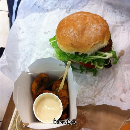"""Photo of Suzy Spoon's Vegetarian Butcher  by <a href=""""/members/profile/Goofyr"""">Goofyr</a> <br/>Crumbed mushrooms and burger <br/> February 1, 2013  - <a href='/contact/abuse/image/34575/43675'>Report</a>"""