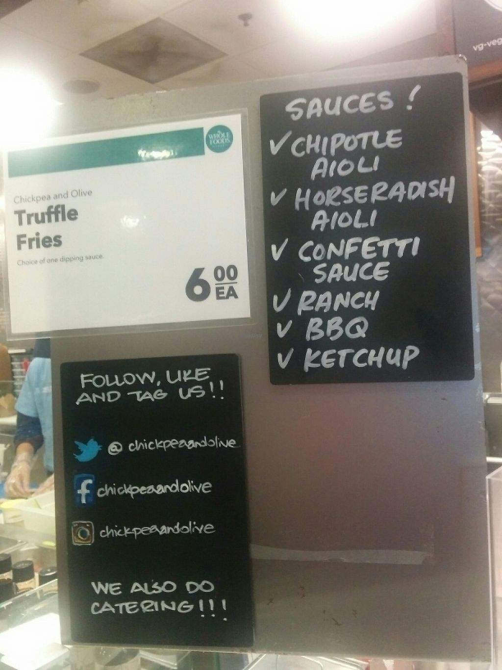 "Photo of Chickpea & Olive  by <a href=""/members/profile/MizzB"">MizzB</a> <br/>menu for the dat, at Chickpea & Olive inside Brooklyn Whole Foods Market <br/> April 24, 2017  - <a href='/contact/abuse/image/34582/251818'>Report</a>"