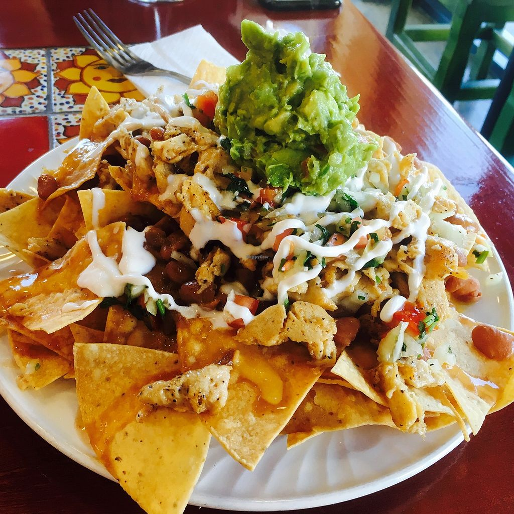 "Photo of Tacos Cancun  by <a href=""/members/profile/amymylove"">amymylove</a> <br/>Vegetarian Nachos made vegan with vegan chicken! <br/> December 11, 2015  - <a href='/contact/abuse/image/34606/127950'>Report</a>"