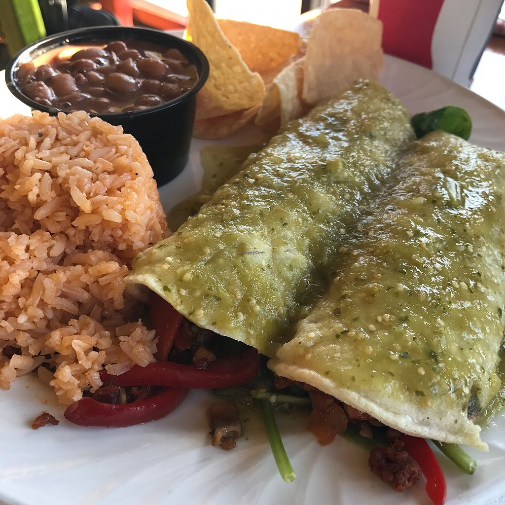 "Photo of Tacos Cancun  by <a href=""/members/profile/xmrfigx"">xmrfigx</a> <br/>Veggie Enchiladas with Soyrizo.  <br/> August 5, 2017  - <a href='/contact/abuse/image/34606/288867'>Report</a>"