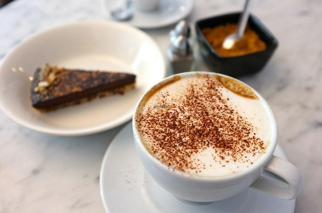 """Photo of CLOSED: The Hive  by <a href=""""/members/profile/Barbara%20Primo"""">Barbara Primo</a> <br/>Raw chocolate dessert and finally a good cappuccino with soy milk! <br/> May 23, 2014  - <a href='/contact/abuse/image/34614/70545'>Report</a>"""