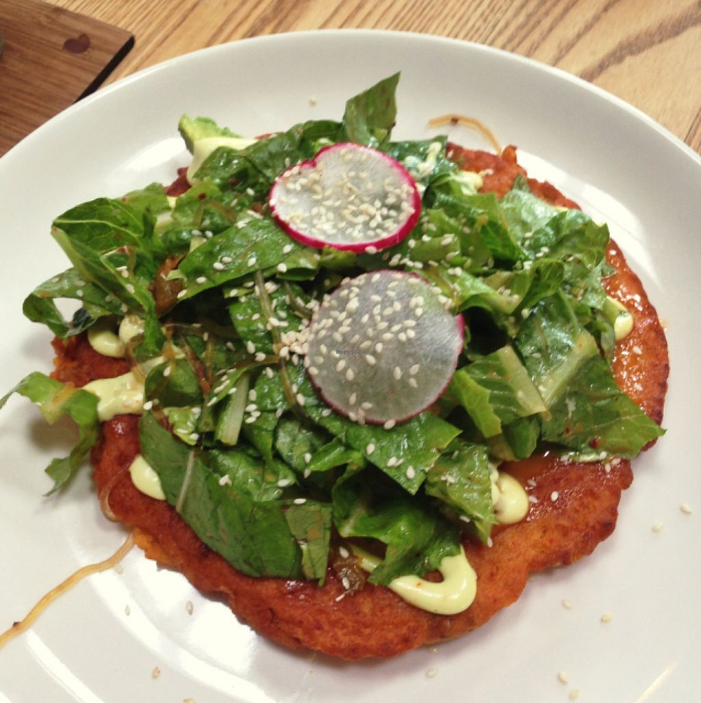 """Photo of CLOSED: Little Bird Organics - Kingsland  by <a href=""""/members/profile/PJantbased"""">PJantbased</a> <br/>kimchi pancakes <br/> January 11, 2016  - <a href='/contact/abuse/image/34645/132116'>Report</a>"""