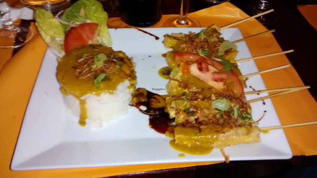"""Photo of O Bali  by <a href=""""/members/profile/JonJon"""">JonJon</a> <br/>Tofu skewers with rice, spices and a curry sauce <br/> December 13, 2014  - <a href='/contact/abuse/image/34661/87892'>Report</a>"""