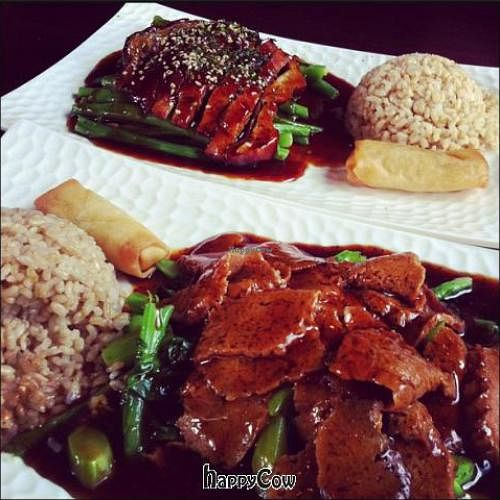 """Photo of Veggie Fun  by <a href=""""/members/profile/travegan"""">travegan</a> <br/>black pepper veggie beef and smoked teriyaki duck <br/> January 3, 2013  - <a href='/contact/abuse/image/34687/42243'>Report</a>"""