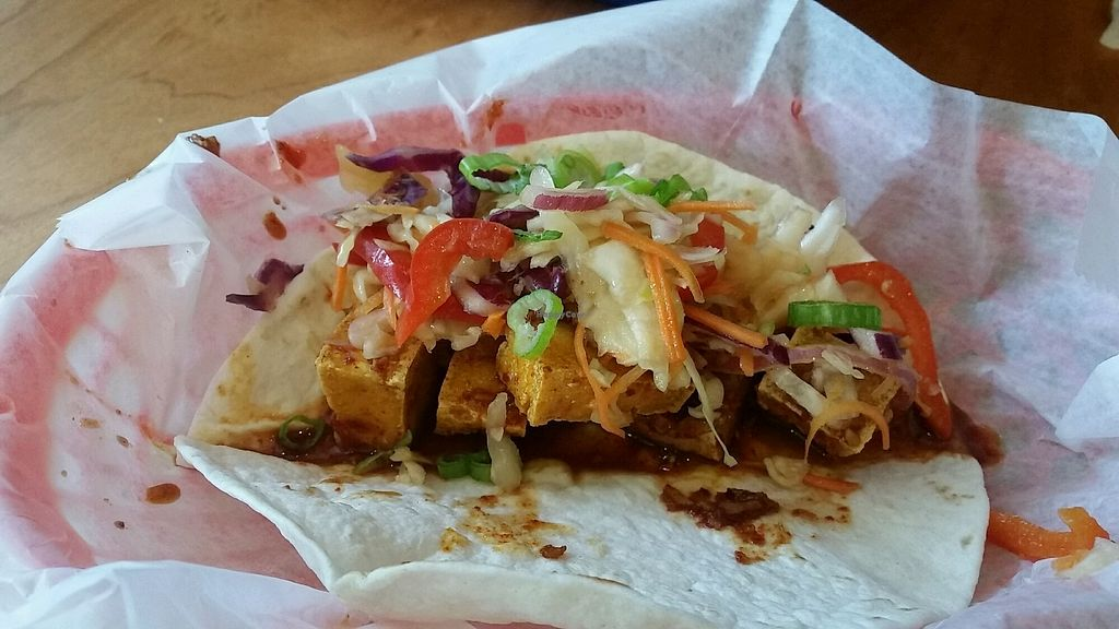 """Photo of MOGO Korean Fusion Tacos  by <a href=""""/members/profile/VeganMama27"""">VeganMama27</a> <br/>tofu taco <br/> July 6, 2017  - <a href='/contact/abuse/image/34698/277120'>Report</a>"""