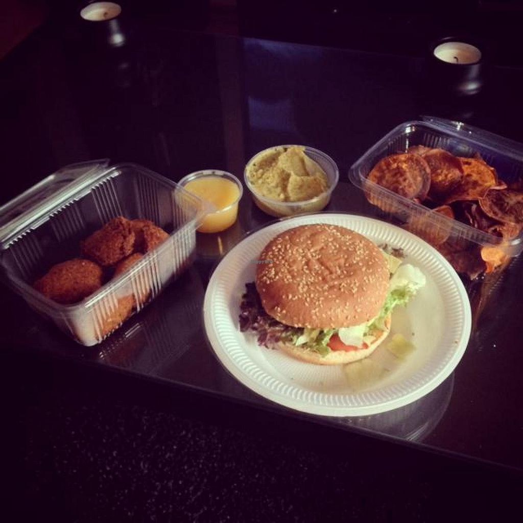 "Photo of CLOSED: Ihlanis Rastaround  by <a href=""/members/profile/xthemenacex"">xthemenacex</a> <br/>Giggling Veggies with Mango Chili Dip, Sweet potato Chips with Guacamole and the famous Auxburger <br/> August 18, 2014  - <a href='/contact/abuse/image/34722/77408'>Report</a>"