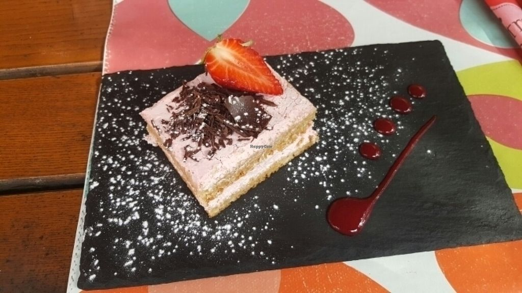 """Photo of Bistrot and Chocolat  by <a href=""""/members/profile/Chrisaen"""">Chrisaen</a> <br/>vegan raspberry cake. Dessert du jour <br/> July 20, 2016  - <a href='/contact/abuse/image/34752/161210'>Report</a>"""