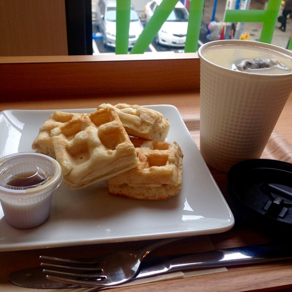 """Photo of Genmai Cafe  by <a href=""""/members/profile/EmmaCebuliak"""">EmmaCebuliak</a> <br/>Brown rice waffles with maple syrup, and tea with soy milk <br/> June 30, 2016  - <a href='/contact/abuse/image/34757/156939'>Report</a>"""