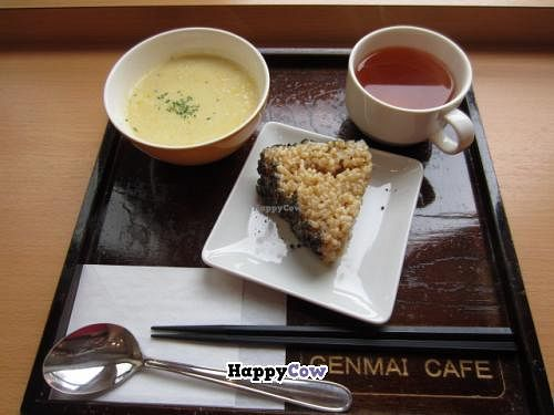 """Photo of Genmai Cafe  by <a href=""""/members/profile/SP"""">SP</a> <br/>A brown rice triangle with crushed sesame seeds on the side, some soup, and some tea <br/> October 20, 2013  - <a href='/contact/abuse/image/34757/56943'>Report</a>"""