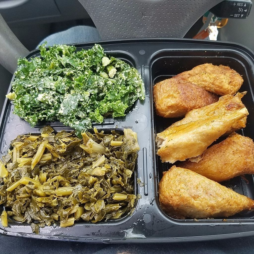 """Photo of Everlasting Life Restaurant  by <a href=""""/members/profile/Sioranth"""">Sioranth</a> <br/>Garlic kale, collard greens, jackfruit """"chicken"""" drumsticks <br/> April 4, 2017  - <a href='/contact/abuse/image/3478/244790'>Report</a>"""