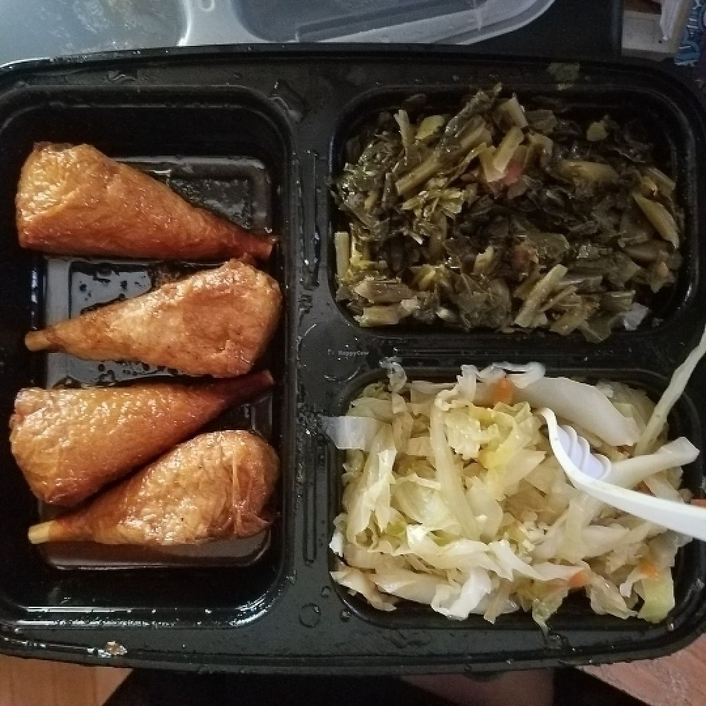 """Photo of Everlasting Life Restaurant  by <a href=""""/members/profile/Sioranth"""">Sioranth</a> <br/>bbq drumsticks, collards, and cabbage <br/> May 15, 2017  - <a href='/contact/abuse/image/3478/259072'>Report</a>"""