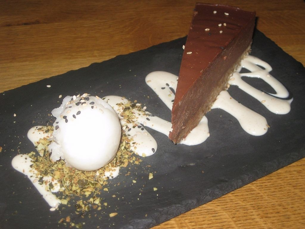 """Photo of Gratitude Restaurant  by <a href=""""/members/profile/jennyc32"""">jennyc32</a> <br/>Chocolate cashew cheesecake <br/> April 16, 2017  - <a href='/contact/abuse/image/34817/248988'>Report</a>"""