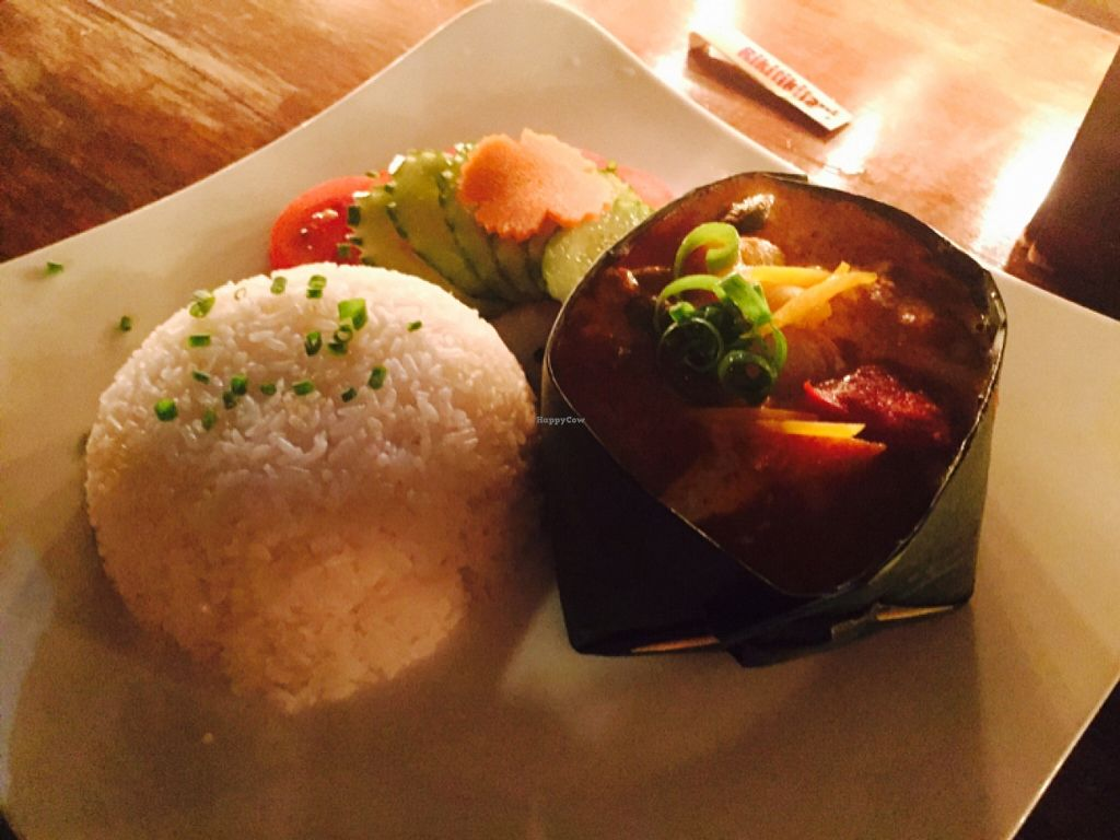 """Photo of Rikitikitavi  by <a href=""""/members/profile/Kyotto"""">Kyotto</a> <br/>vegan Khmer curry in banana leaf <br/> December 21, 2015  - <a href='/contact/abuse/image/34872/129357'>Report</a>"""