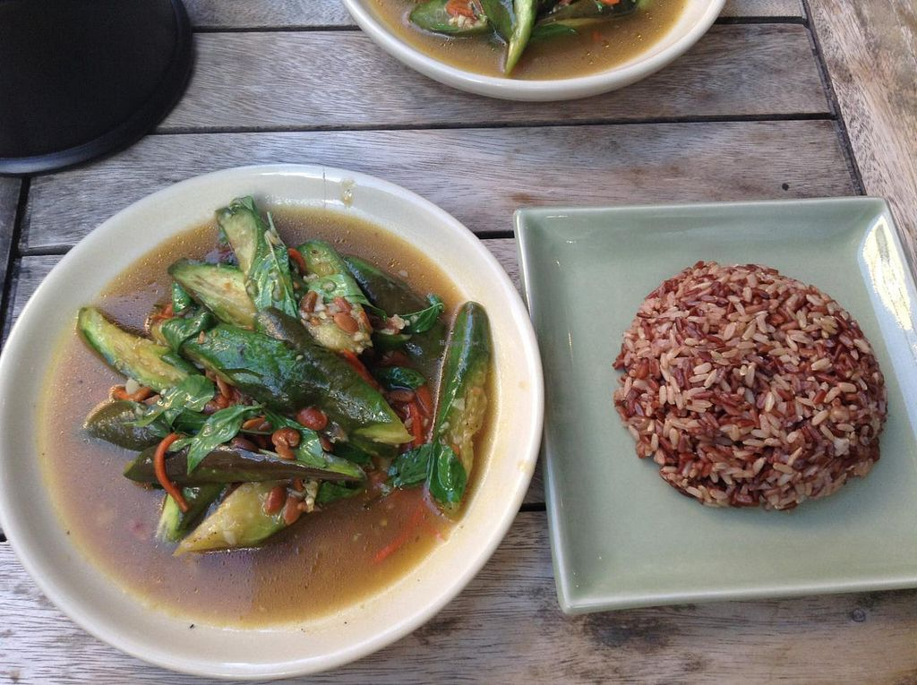 "Photo of Anchan Vegetarian Restaurant  by <a href=""/members/profile/mckmegatron"">mckmegatron</a> <br/>Anchan Vegetarian, Chiang Mai - miso eggplant dish with brown rice <br/> June 20, 2015  - <a href='/contact/abuse/image/34920/106662'>Report</a>"
