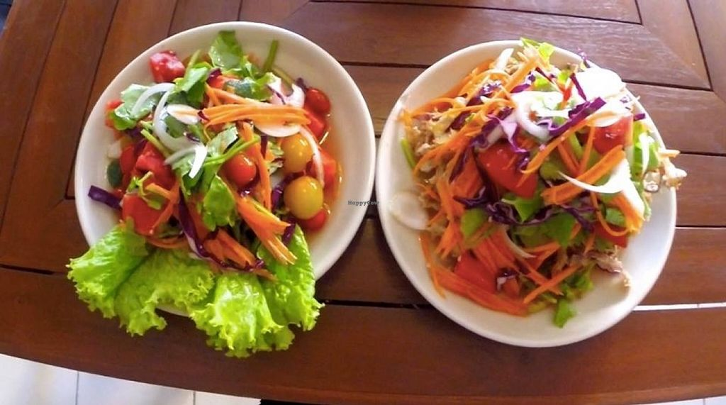 "Photo of Anchan Vegetarian Restaurant  by <a href=""/members/profile/samesamebutvegan"">samesamebutvegan</a> <br/>Banana flower salad and tomato salad <br/> February 19, 2016  - <a href='/contact/abuse/image/34920/136850'>Report</a>"