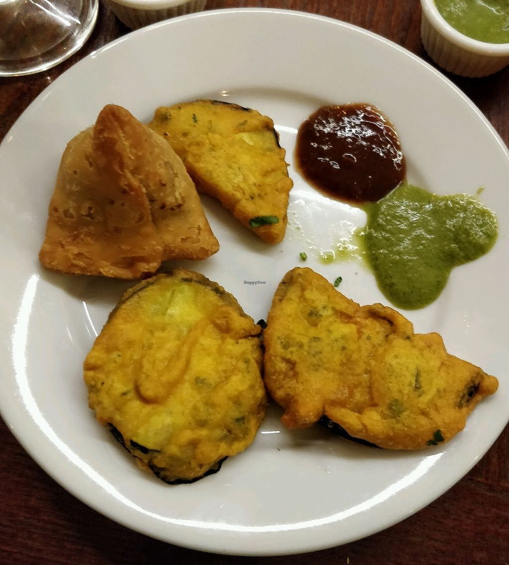 """Photo of Namaste India  by <a href=""""/members/profile/Plumesworld"""">Plumesworld</a> <br/>samosa and aubergine pakoras <br/> March 10, 2018  - <a href='/contact/abuse/image/34973/369026'>Report</a>"""