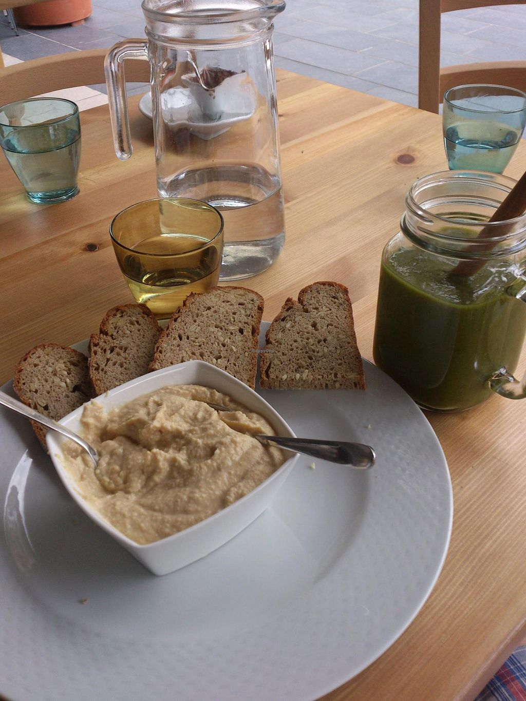 "Photo of Veganima  by <a href=""/members/profile/Tank242"">Tank242</a> <br/>Green supersmoothie, hummus <br/> July 29, 2014  - <a href='/contact/abuse/image/34979/75394'>Report</a>"