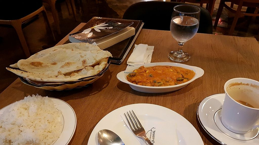 "Photo of Rajmahal Indian Restaurant  by <a href=""/members/profile/aggiem"">aggiem</a> <br/>Basmati rice, garlic naan, mix veggie curry and chai masala <br/> October 9, 2017  - <a href='/contact/abuse/image/34985/313624'>Report</a>"