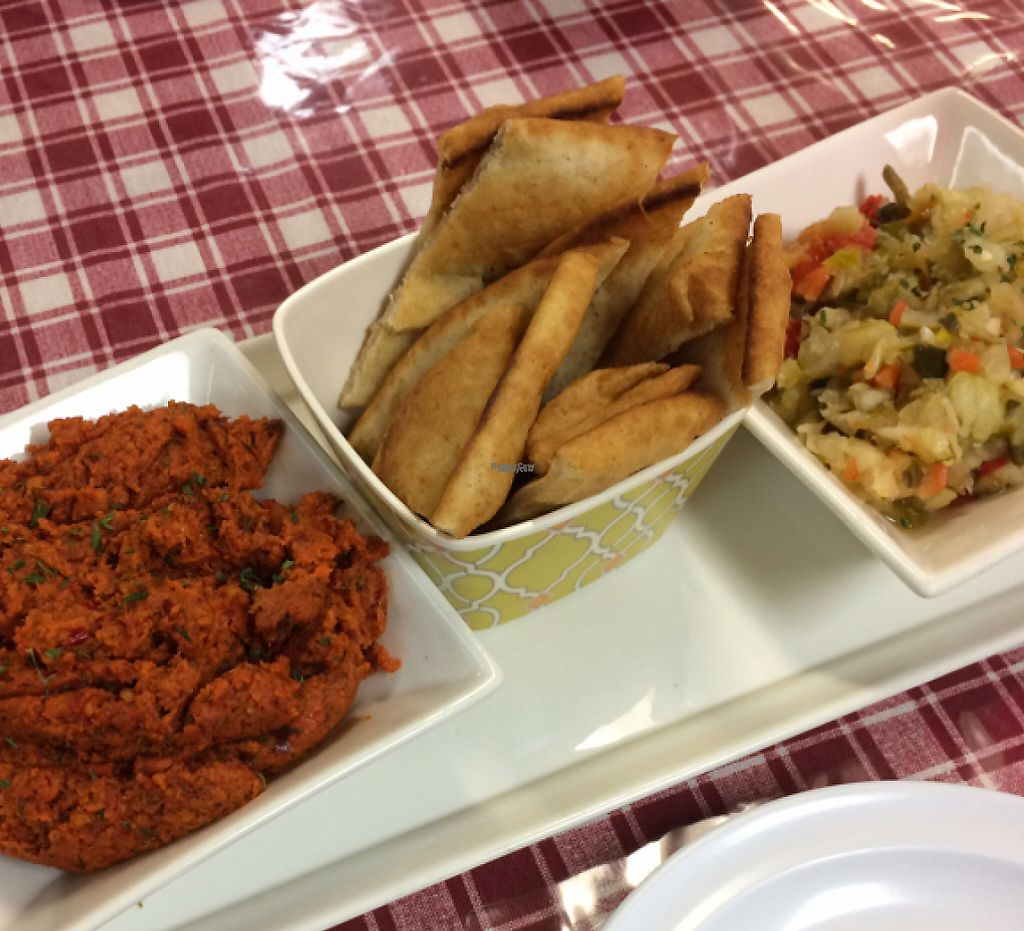 """Photo of Smyrna Mediterranean Cuisine  by <a href=""""/members/profile/DNice88"""">DNice88</a> <br/>muhamarra dip, pita, pickles <br/> October 30, 2016  - <a href='/contact/abuse/image/35023/232617'>Report</a>"""