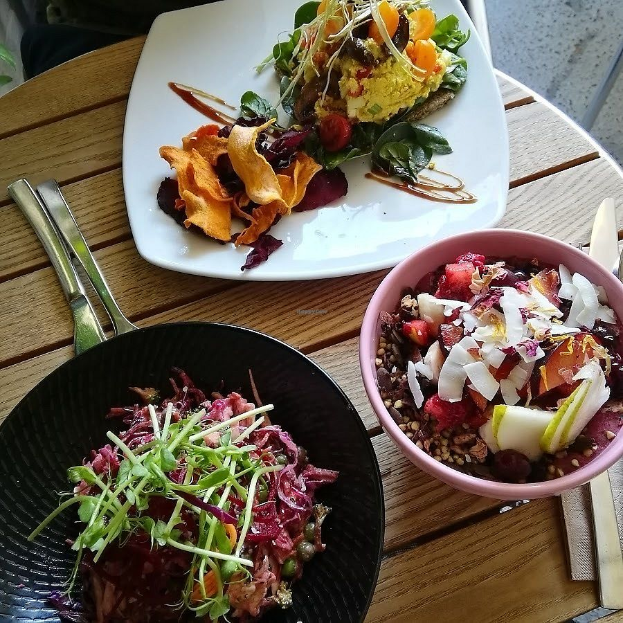 "Photo of Earth to Table  by <a href=""/members/profile/RachMeow"">RachMeow</a> <br/>The acai bowl, rainbow salad and something else and some kind of scramble thing.  AMAZING! <br/> April 8, 2018  - <a href='/contact/abuse/image/35045/382300'>Report</a>"