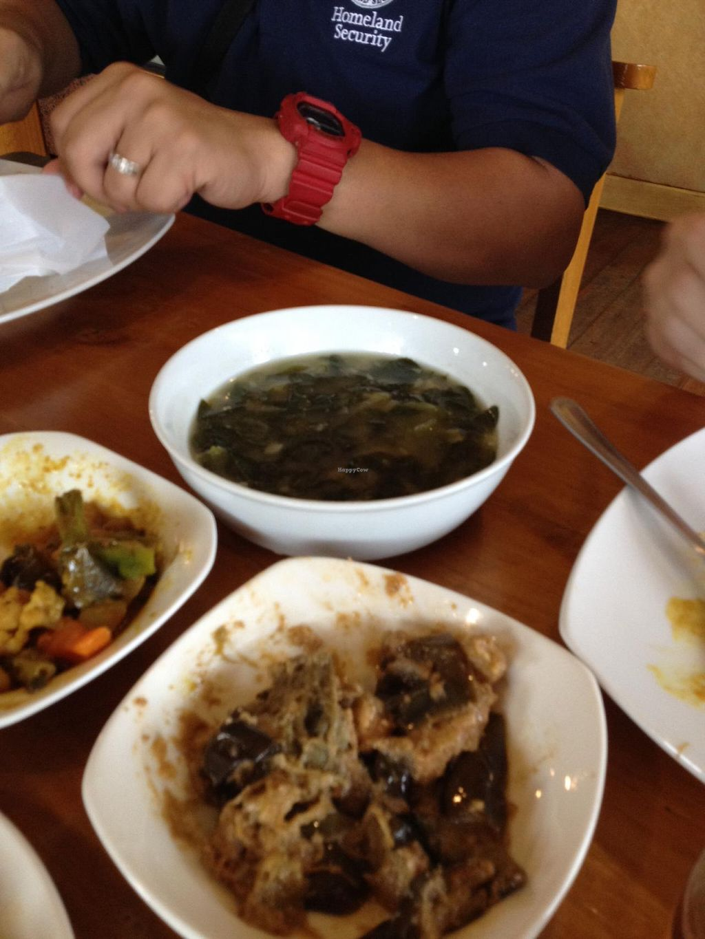 """Photo of Blissful Belly Vegetarian Cuisine  by <a href=""""/members/profile/slo0go"""">slo0go</a> <br/>Malunggay soup and awesome tofu/eggplant dish <br/> January 19, 2015  - <a href='/contact/abuse/image/3504/90699'>Report</a>"""